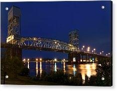 Cape Fear Memorial Bridge 2 - North Carolina Acrylic Print by Mike McGlothlen