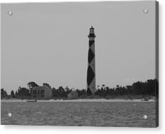 Cape Lookout Light Black And White Acrylic Print