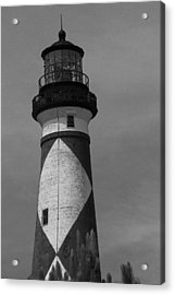 Cape Lookout Light Black And White 2  Acrylic Print