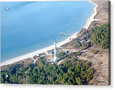 Cape Lookout Lighthouse Aerial View Acrylic Print