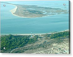 Cape Lookout Lighthouse From The Air Acrylic Print by Dan Williams