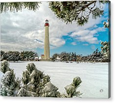 Cape May Light Thru Snowy Trees Acrylic Print