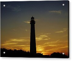 Acrylic Print featuring the photograph Cape May Lighthouse At Sunset by Ed Sweeney