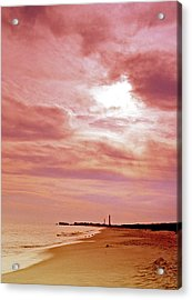 Cape May New Jersey Sunset With Lighthouse In The Distance Acrylic Print by A Gurmankin