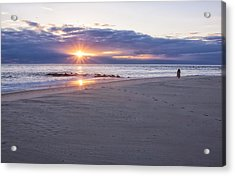 Cape May Point Winter Sunset Acrylic Print by Tom Singleton