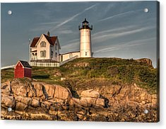 Cape Neddick Lighthouse In Evening Light Acrylic Print by At Lands End Photography