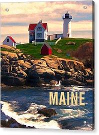 Cape Neddick Lighthouse Maine  At Sunset  Acrylic Print by Elaine Plesser