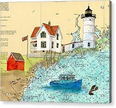 Cape Neddick Lighthouse Me Nautical Chart Map Art Cathy Peek Acrylic Print by Cathy Peek