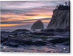Cape Rocks And Surf Sunset Acrylic Print