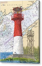 Cape Spencer Lighthouse Nb Canada Nautical Chart Map Art Acrylic Print by Cathy Peek