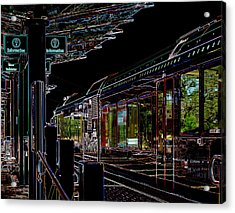 Capital Metro Rail In Neon Acrylic Print