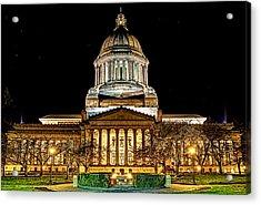 Capitol At Night Acrylic Print by David Stine