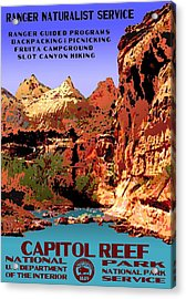 Capitol Reef National Park Vintage Poster Acrylic Print by Eric Glaser