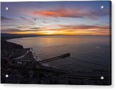 Capitola Wharf Sunrise Acrylic Print by David Levy