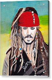 Cap'n Jack Sparrow Acrylic Print by Audrey Pollitt