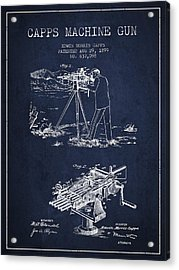 Capps Machine Gun Patent Drawing From 1899 - Navy Blue Acrylic Print by Aged Pixel