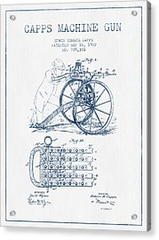Capps Machine Gun Patent Drawing From 1902 -  Blue Ink Acrylic Print