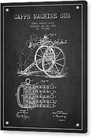 Capps Machine Gun Patent Drawing From 1902 - Dark Acrylic Print by Aged Pixel