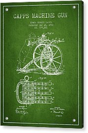 Capps Machine Gun Patent Drawing From 1902 - Green Acrylic Print by Aged Pixel
