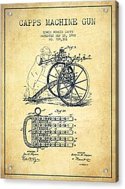 Capps Machine Gun Patent Drawing From 1902 - Vintage Acrylic Print by Aged Pixel