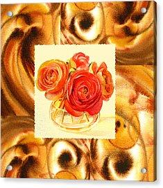 Cappuccino Abstract Collage Ranunculus   Acrylic Print by Irina Sztukowski
