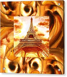 Cappuccino In Paris Abstract Collage Eiffel Tower Acrylic Print by Irina Sztukowski
