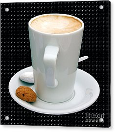 Cappuccino With An Amaretti Biscuit Acrylic Print by Terri Waters