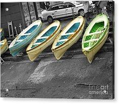 Capri Italy Aqua Green Boats Acrylic Print