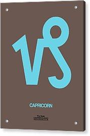 Capricorn Zodiac Sign Blue Acrylic Print by Naxart Studio