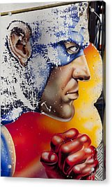 Captain America Acrylic Print by Mike Greenslade