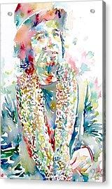 Captain Beefheart Watercolor Portrait.2 Acrylic Print by Fabrizio Cassetta