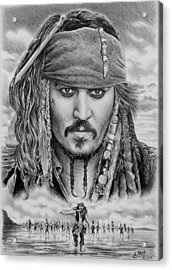 Captain Jack Sparrow Acrylic Print by Andrew Read