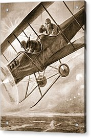 Captain Liddell Piloting His Aeroplane Acrylic Print by H. Ripperger
