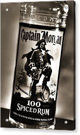 Captain Morgan Black And White Acrylic Print