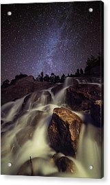 Capturing A Starry Night Waterfall In Acrylic Print
