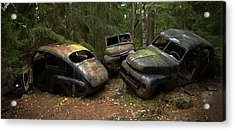 Car Cemetery In The Woods. Acrylic Print by Steen Lund Hansen