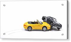 Car Crash Between Sportscar And Sedan Acrylic Print by Patricia Hofmeester
