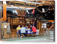 Car Factory Workers Eating Lunch Acrylic Print