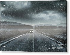 Car On Rural Road In Early Winter Acrylic Print by Sandra Cunningham