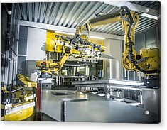 Car Parts Handled By Robots In Car Factory Acrylic Print by Monty Rakusen