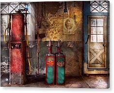 Car - Station - Gas Pumps Acrylic Print by Mike Savad