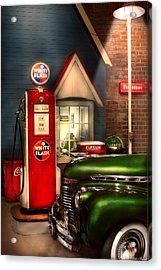 Car - Station - White Flash Gasoline Acrylic Print by Mike Savad
