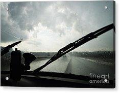 Car Windshield By Heavy Rains On Road Acrylic Print by Sami Sarkis