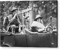 Car With Mounted Machine Gun Acrylic Print by Underwood Archives
