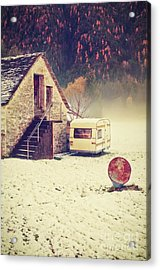 Caravan In The Snow With House And Wood Acrylic Print