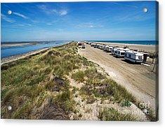 Caravans Aligned On Beach Acrylic Print by Sami Sarkis