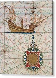 Caravel In Ocean Acrylic Print