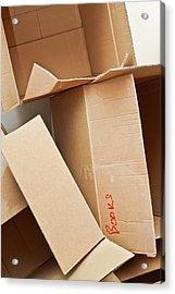 Cardboard Boxes Acrylic Print by Tom Gowanlock