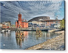 Cardiff Bay Textured Acrylic Print by Steve Purnell