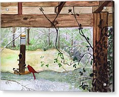 Cardinal-back Porch Picnic Acrylic Print by June Holwell